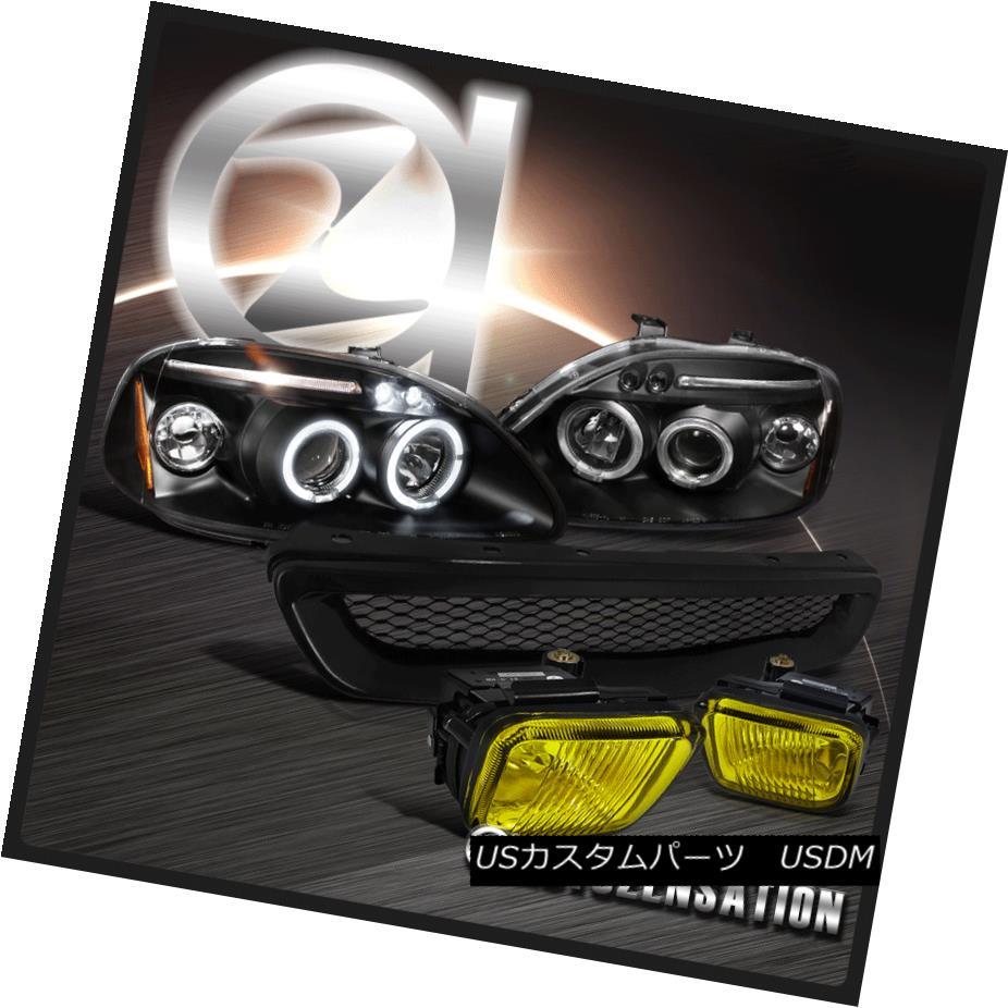 ヘッドライト For 96-98 Civic Black LED Halo Projector Headlights+Hood Grille+Yellow Fog Lamps 96-98シビックブラックLEDハロープロジェクターヘッドライト+ Hoo  dグリル+イエローフォグランプ