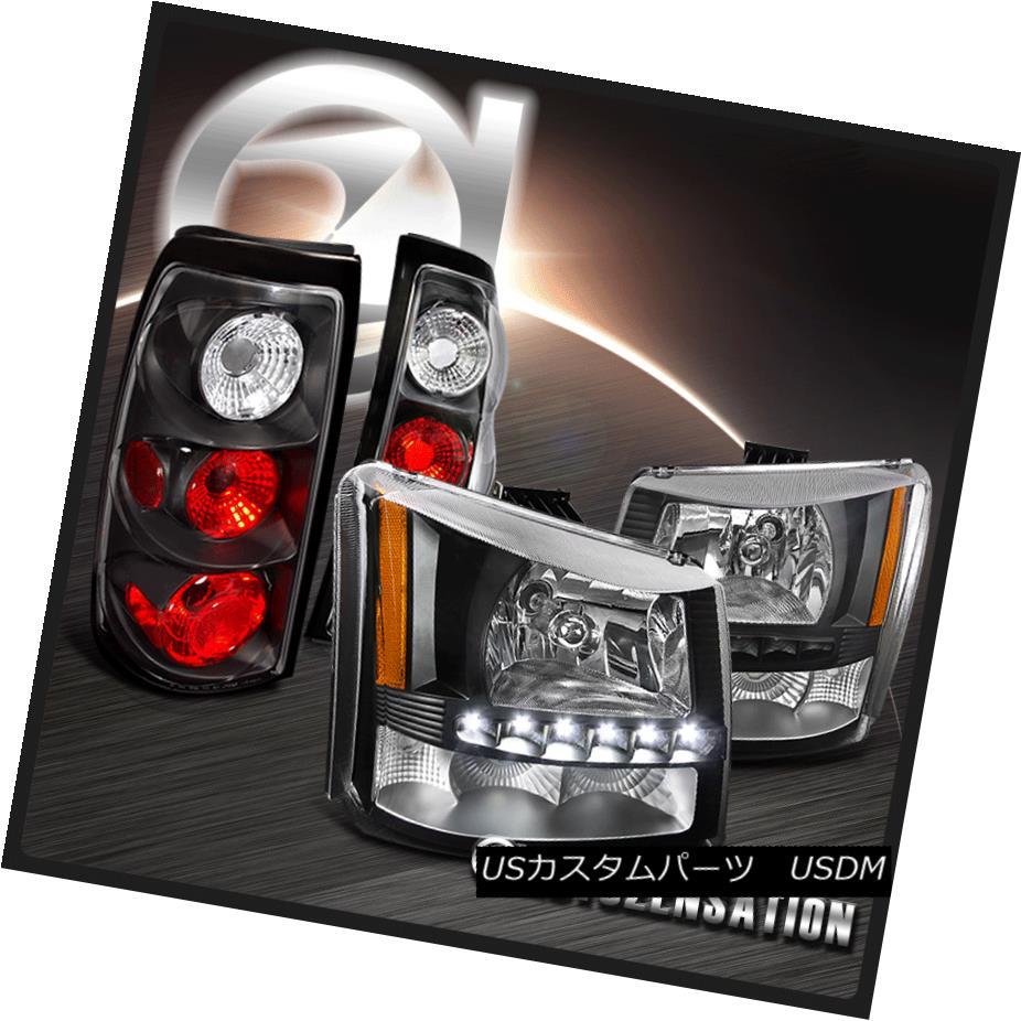 ヘッドライト 2003-2006 Chevy Silverado 1PC Black SMD LED Crystal Headlights+Tail Lamps 2003-2006シボレーシルバラード1PCブラックSMD LEDクリスタルヘッドライト+タイ lランプ