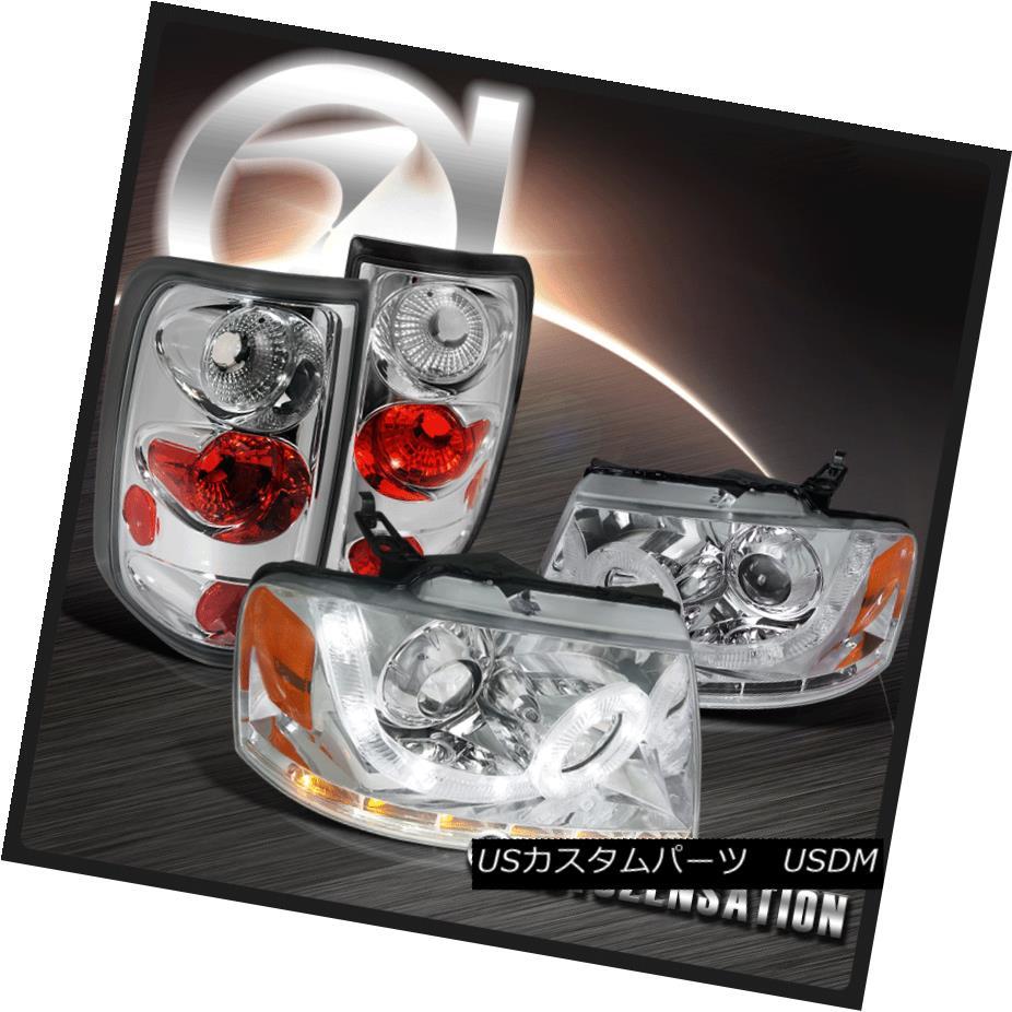 ヘッドライト 04-08 Ford F150 Chrome LED Halo Signal Projector Headlights+Clear Tail Lamps 04-08 Ford F150 Chrome LEDハロー信号プロジェクターヘッドライト+ Cle  arテールランプ