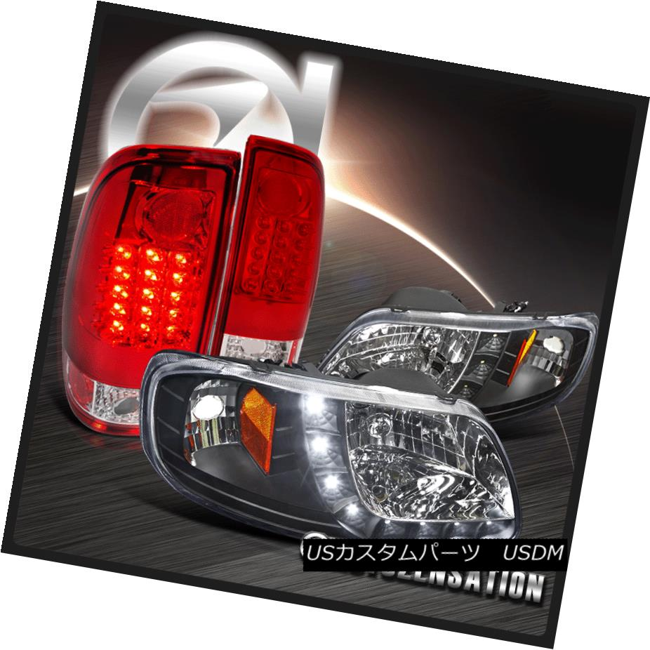ヘッドライト 97-03 F150 Crystal Black SMD DRL Strip Headlights+Red Brake LED Tail Lamps 97-03 F150クリスタルブラックSMD DRLストリップヘッドライト+レッドブレーキLEDテールランプ