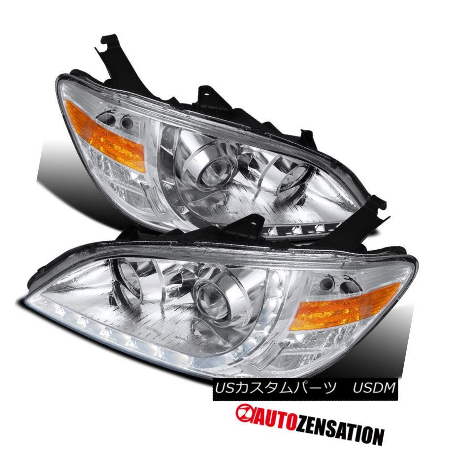 ヘッドライト For 2004-2005 Honda Civic 2Dr 4Dr Chrome R8 LED DRL Projector Headlights Lamps 2004-2005ホンダシビック2Dr 4DrクロームR8 LED DRLプロジェクターヘッドライトランプ
