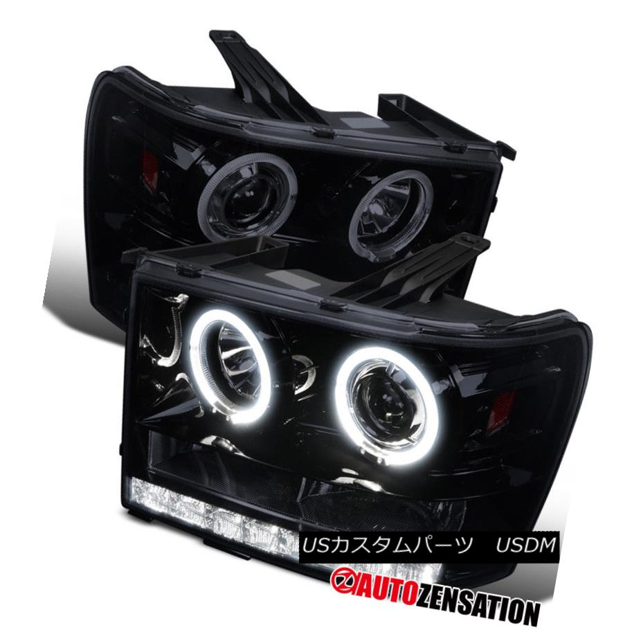 ヘッドライト 07-13 Sierra Denali Hybrid Glossy Black LED Halo Projector Headlights 07-13 Sierra Denaliハイブリッド光沢ブラックLEDハロープロジェクターヘッドライト