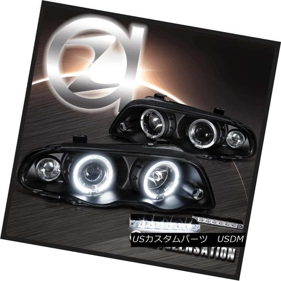 ヘッドライト 99-01 BMW E46 3-Series 4Dr Sedan Black Halo Projector Headlights+6-LED DRL Lamps 99-01 BMW E46 3シリーズ4Drセダンブラックハロープロジェクターヘッドライト+ 6-L  ED DRLランプ