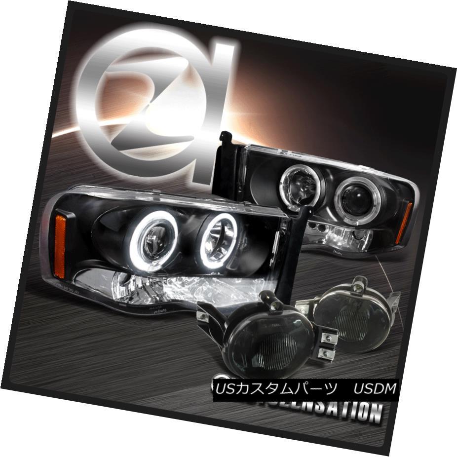 ヘッドライト 03-05 Dodge Ram 2500 3500 LED Halo Black Projector Headlights+Smoke Fog Lights 03-05 Dodge Ram 2500 3500 LEDハローブラックプロジェクターヘッドライト+スモーキー keフォグライト