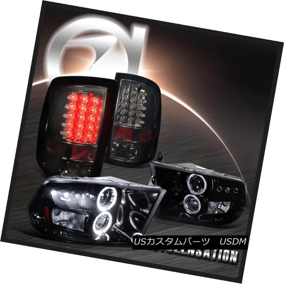 ヘッドライト 09-17 RAM Glossy Black Halo Projector Headlight+Smoke LED Tail Lights 09-17 RAM光沢ブラックハロープロジェクターヘッドライト+スモーク e LEDテールライト