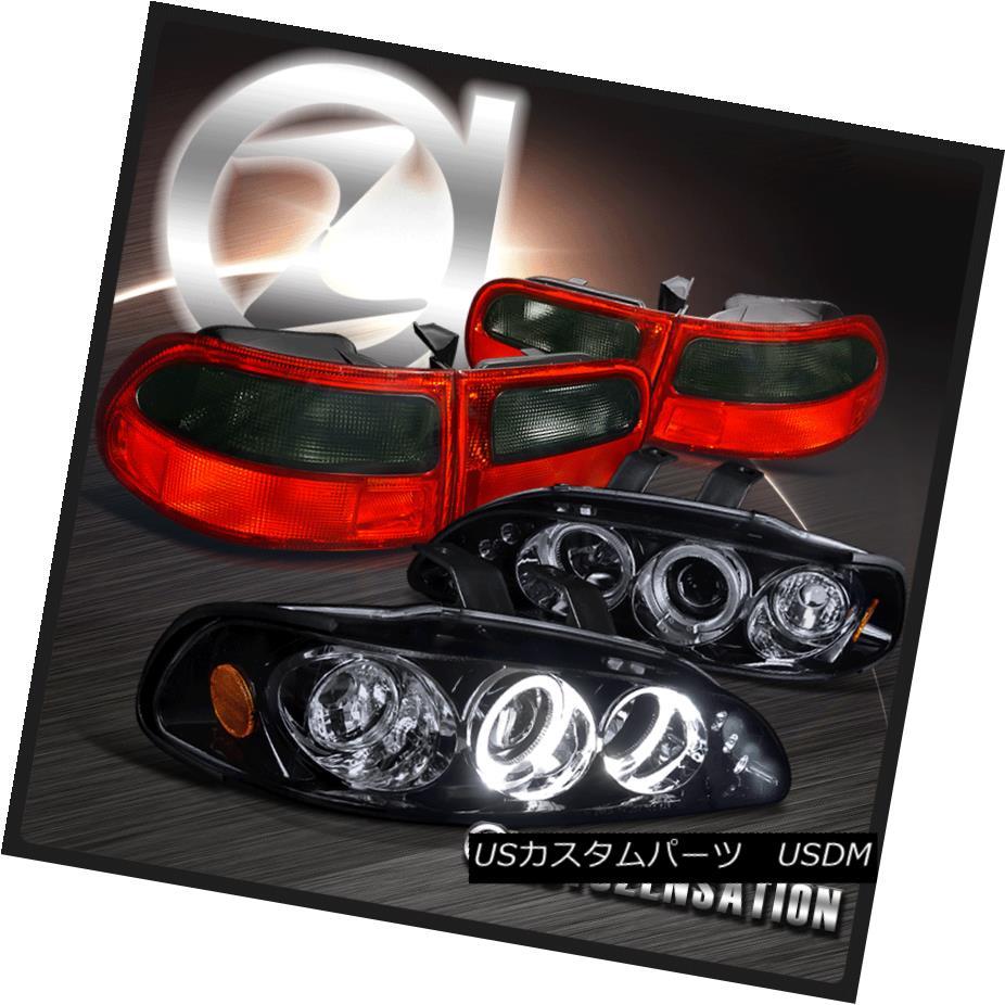 ヘッドライト Glossy Black For 92-95 Civic Halo LED Projector Headlights+Red Smoke Tail Lamps 光沢ブラック92-95シビックハローLEDプロジェクターヘッドライト+レッド煙テールランプ