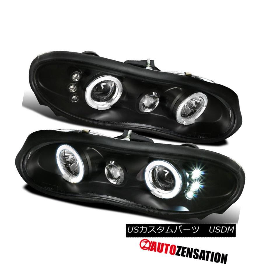 ヘッドライト 1998-2002 Chevy Camaro Replacement Black Halo Projector LED DRL Headlights Lamps 1998-2002シボレーカマロ交換ブラックハロープロジェクターLED DRLヘッドライトランプ