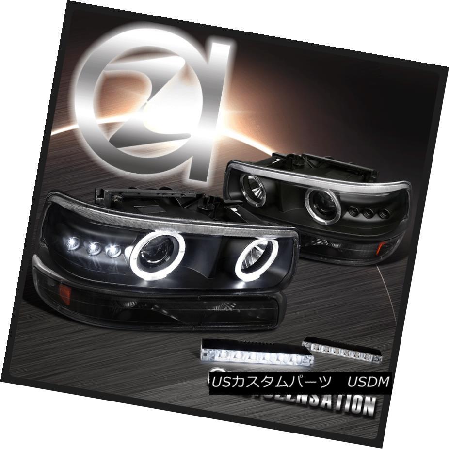 ヘッドライト Black Chevy Silverado Halo Projector Headlights+Bumper Lamps+6-LED Fog Lights ブラックシェビーSilveradoハロープロジェクターヘッドライト+バーン 1ランプ+ 6-LEDフォグライト