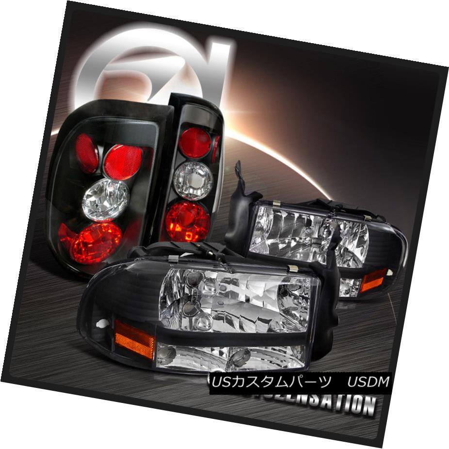 ヘッドライト Dodge 97-04 Dakota Euro Crystal Black Headlights+Altezza Tail Brake Lamps ドッジ97-04ダコタユーロクリスタルブラックヘッドライト+ Alt  ezzaテールブレーキランプ
