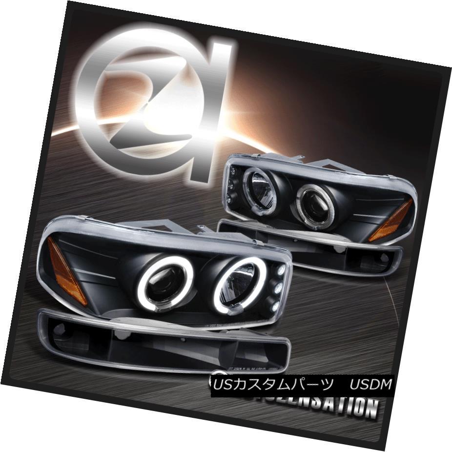 ヘッドライト 00-06 GMC Sierra/ Yukon XL Black Projector Headlights & Bumper Lights 00-06 GMC Sierra / Yukon XLブラックプロジェクターヘッドライト& バンパーライト