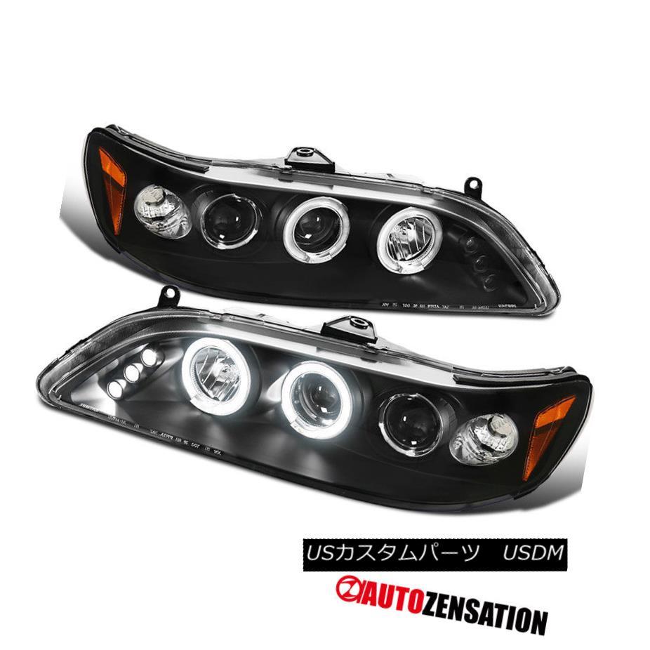 ヘッドライト Fit 98-02 Honda Accord 2Dr 4Dr Black Halo Projector LED Headlights フィット98-02ホンダアコード2Dr 4DrブラックハロープロジェクターLEDヘッドライト