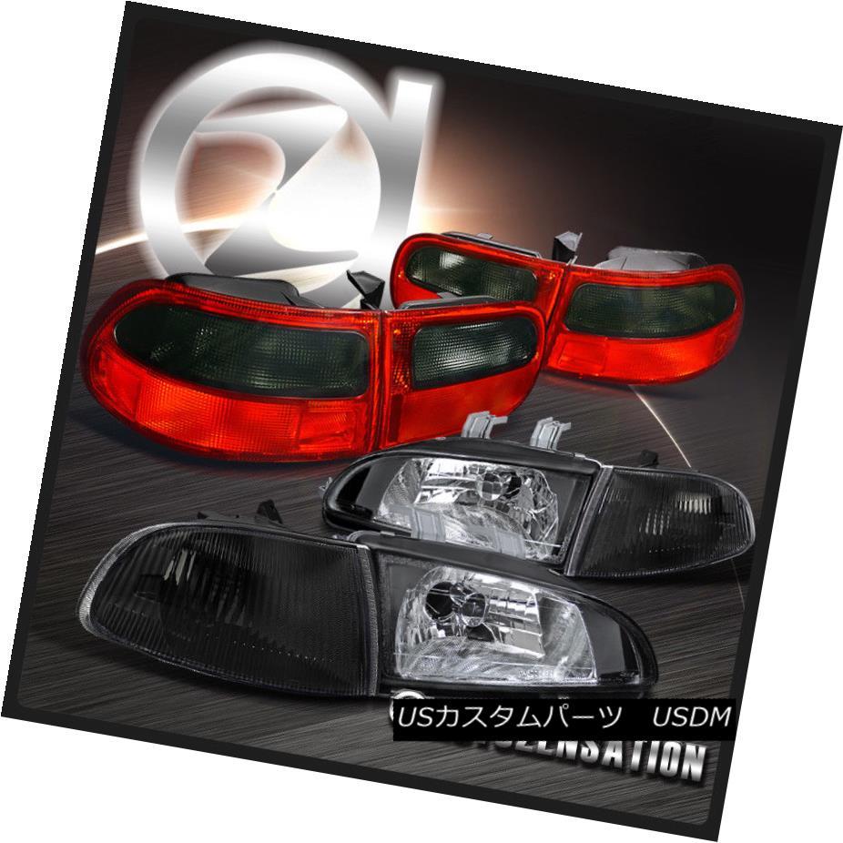 ヘッドライト For 92-95 Civic 3DR Black Crystal Headlights+Corner Signal+Red Smoke Tail Lamps 92-95シビック3DRブラッククリスタルヘッドライト+ Cor  ner信号+赤煙テールランプ