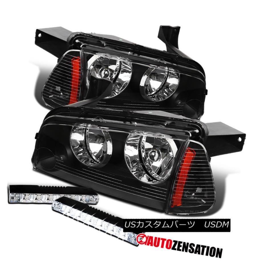 ヘッドライト 06-10 Dodge Charger Headlights Black+Corner Signal Lights+Black LED Fog DRL Lamp 06-10ダッジチャージャーヘッドライトブラック+コーナー信号ライト+ブラックLEDフォグDRLランプ