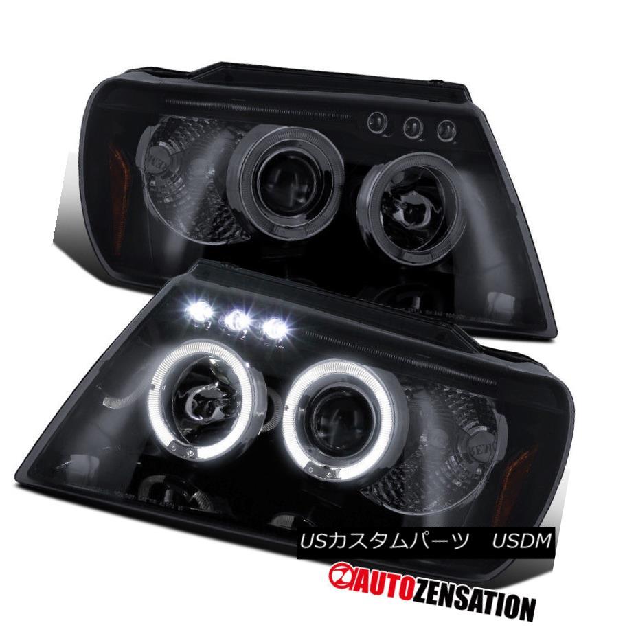 ヘッドライト Glossy Black 99-04 Jeep Grand Cherokee Halo Projector Smoke LED Headlights Glossy Black 99-04 Jeep Grand Cherokee Haloプロジェクター煙LEDヘッドライト