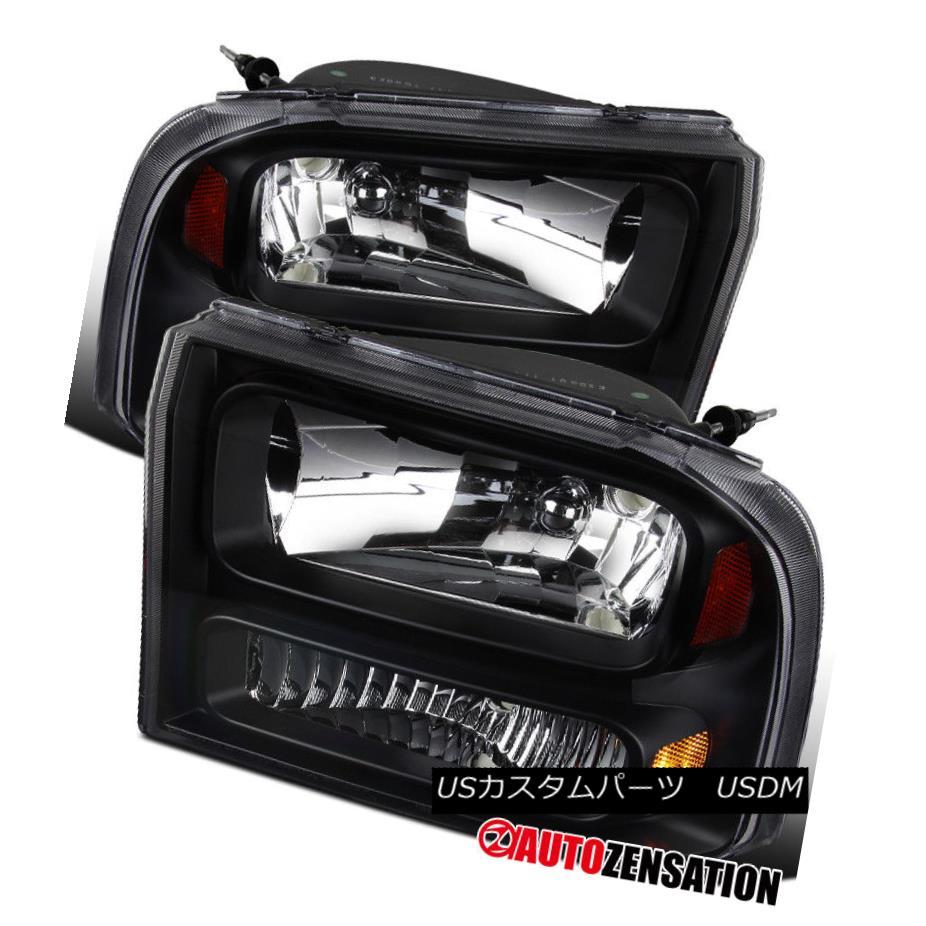 ヘッドライト 1999-2004 F250 F350 Super Duty 2000-2004 Excursion Black Clear Headlights 1PC 1999-2004 F250 F350スーパーデューティ2000-2004エクスカーションブラッククリアヘッドライト1PC