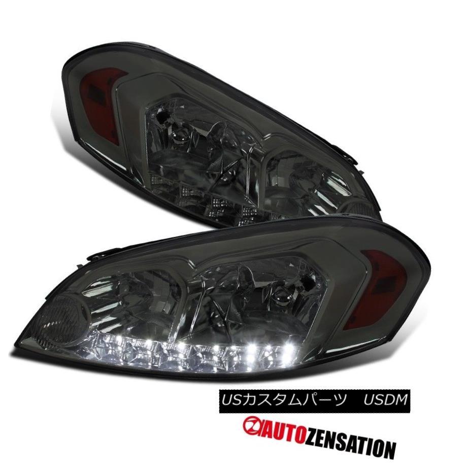 ヘッドライト Chevy 06-13 Impala 06-07 Monte Carlo Smoke LED Headlights+Amber Reflector シェビー06-13インパラ06-07モンテカルロ煙LEDヘッドライト+アンバー 反射器