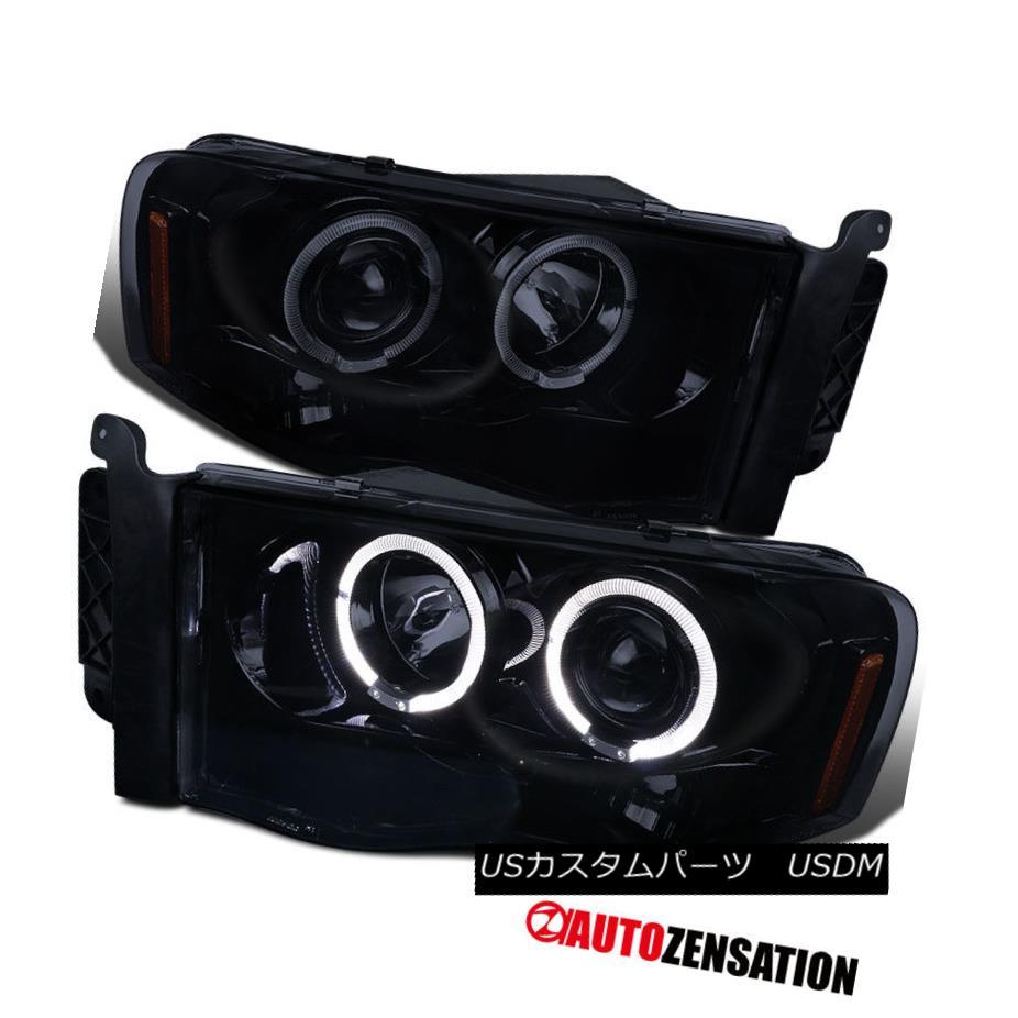 ヘッドライト 02-05 Dodge Ram Pickup [Glossy Black] LED DRL Halo Projector Headlights 02-05 Dodge Ram Pickup [光沢のある黒] LED DRL Haloプロジェクターヘッドライト