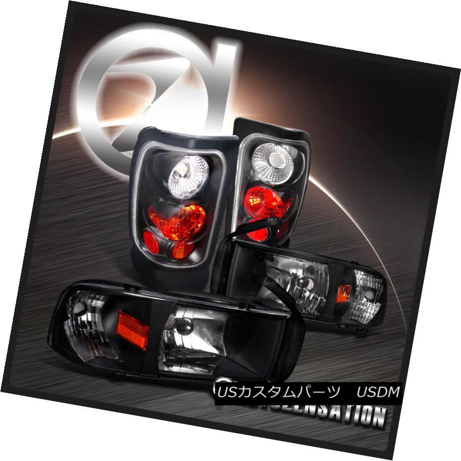 ヘッドライト 94-01 Dodge RAM 1500/2500/3500 Euro Black Headlights+Rear Tail Brake Lamps 94-01ダッジRAM 1500/2500/3500ユーロブラックヘッドライト+リア rテールブレーキランプ
