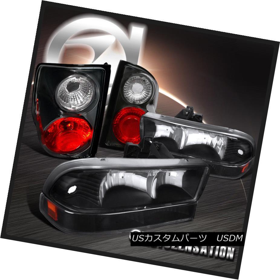 ヘッドライト 1998-2004 Chevy S10 Pickup Black Crystal Headlights+Bumper Lamps+Tail Lights 1998-2004シボレーS10ピックアップブラッククリスタルヘッドライト+バーン 、ランプ+テールライト