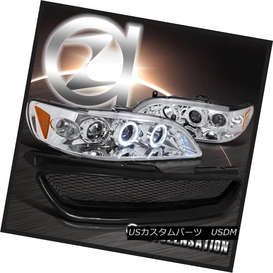 ヘッドライト Fit 1998-2002 Accord 2DR Chrome Halo LED Projector Headlights+Mesh Hood Grille Fit 1998-2002 Accord 2DRクロムハローLEDプロジェクターヘッドライト+メス hフードグリル