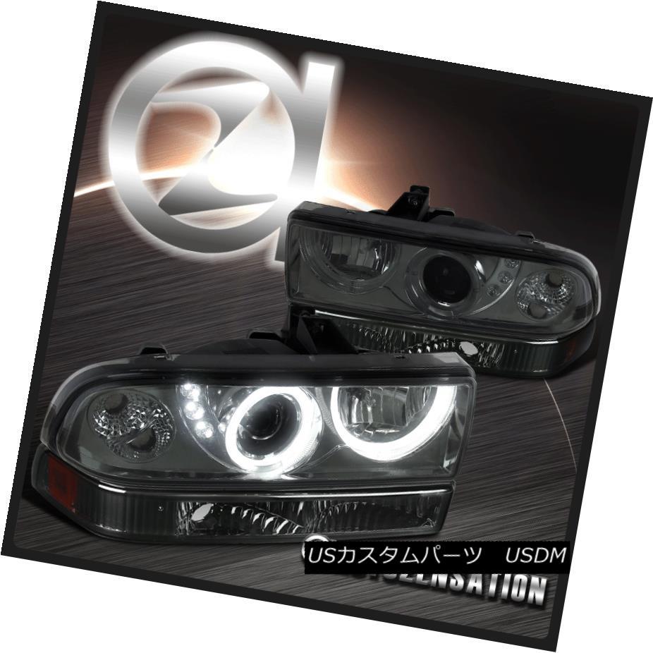 ヘッドライト Chevy 98-04 S10 Blazer Smoke SMD LED Halo Projector Headlights+Amber Bumper Lamp シボレー98-04 S10 Blazer Smoke SMD LEDハロープロジェクターヘッドライト+ Amb  erバンパーランプ