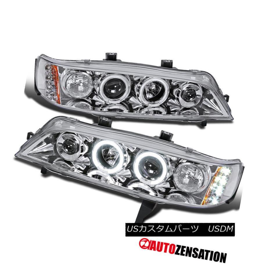 ヘッドライト For 94-97 Honda Accord 2Dr 4Dr Chrome Halo Projector LED Headlights 94-97ホンダアコード2Dr 4Drクロームハロープロジェクター用LEDヘッドライト