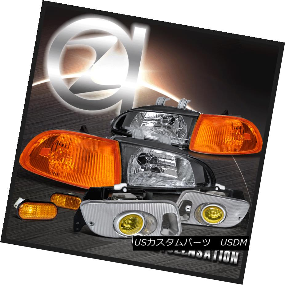 ヘッドライト For Civic 2/3DR Headlight+Amber Corner Lamps+Flat Side Marker+Yellow Fog Lamps Civic 2 / 3DRヘッドライト+ Ambe  rコーナーランプ+フラットサイドマーカー+イエローフォグランプ