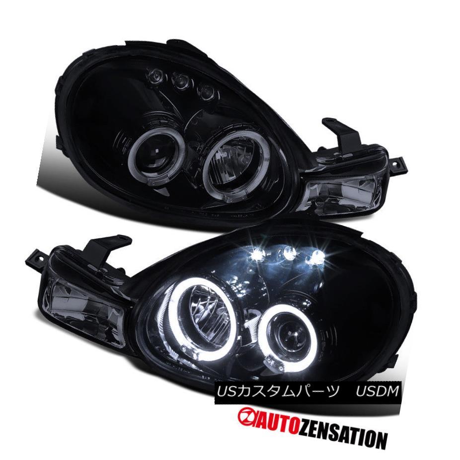 ヘッドライト 00-02 Dodge Neon Glossy Black LED DRL Halo Projector Headlights Park Signal 00-02ダッジネオングロッシーブラックLED DRLハロープロジェクターヘッドライトパーク信号
