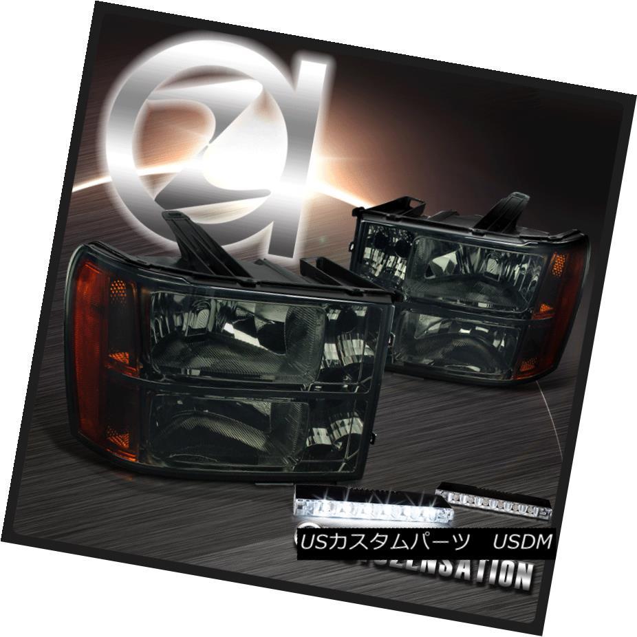 ヘッドライト 07-13 Sierra 1500 2500 3500HD Denali Hybrid Smoke Headlights+6-LED DRL Lamps 07-13 Sierra 1500 2500 3500HDデナリハイブリッドスモークヘッドライト+ 6-L  ED DRLランプ