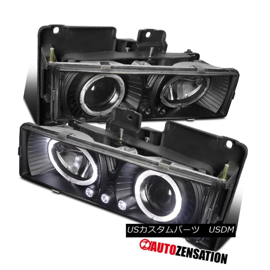 ヘッドライト 88-98 Chevy GMC Sierra Yukon C10 C/K Pickup Black LED Halo Projector Headlights 88-98シボレーGMCシエラユーコンC10 C / KピックアップブラックLEDハロープロジェクターヘッドライト