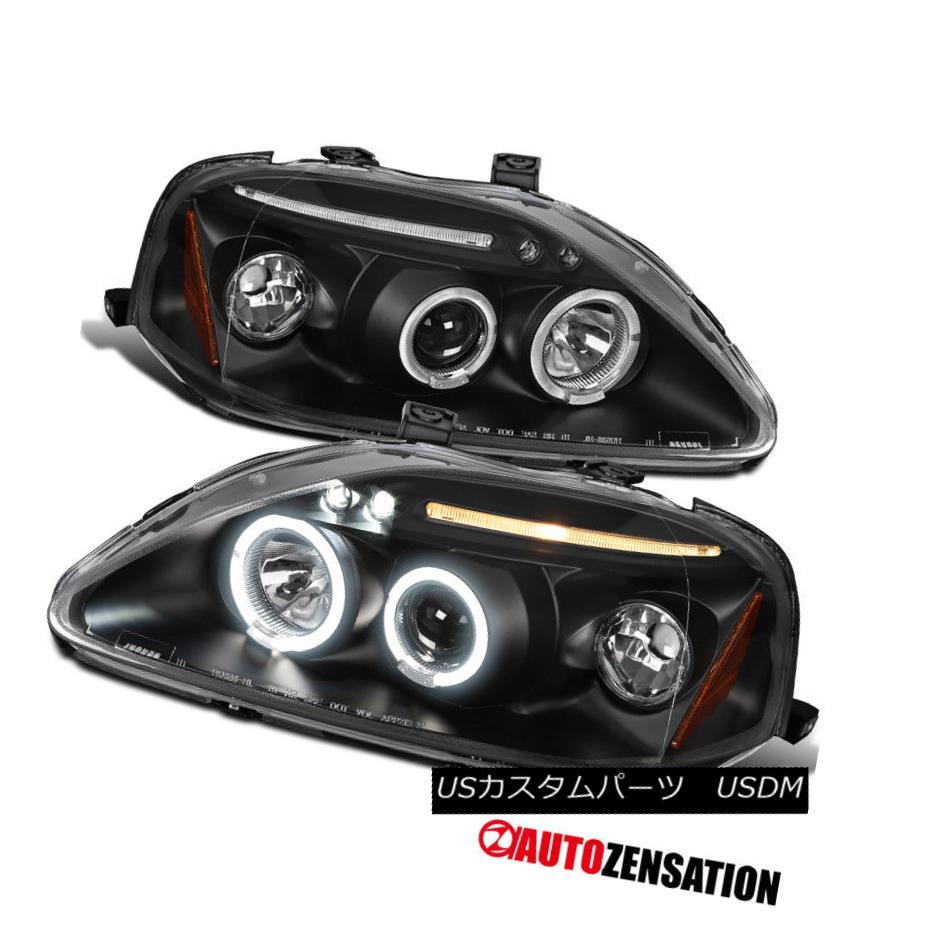 ヘッドライト Fit 99-00 Honda Civic Black LED DRL Halo Projector Headlights フィット99-00ホンダシビックブラックLED DRLハロープロジェクターヘッドライト