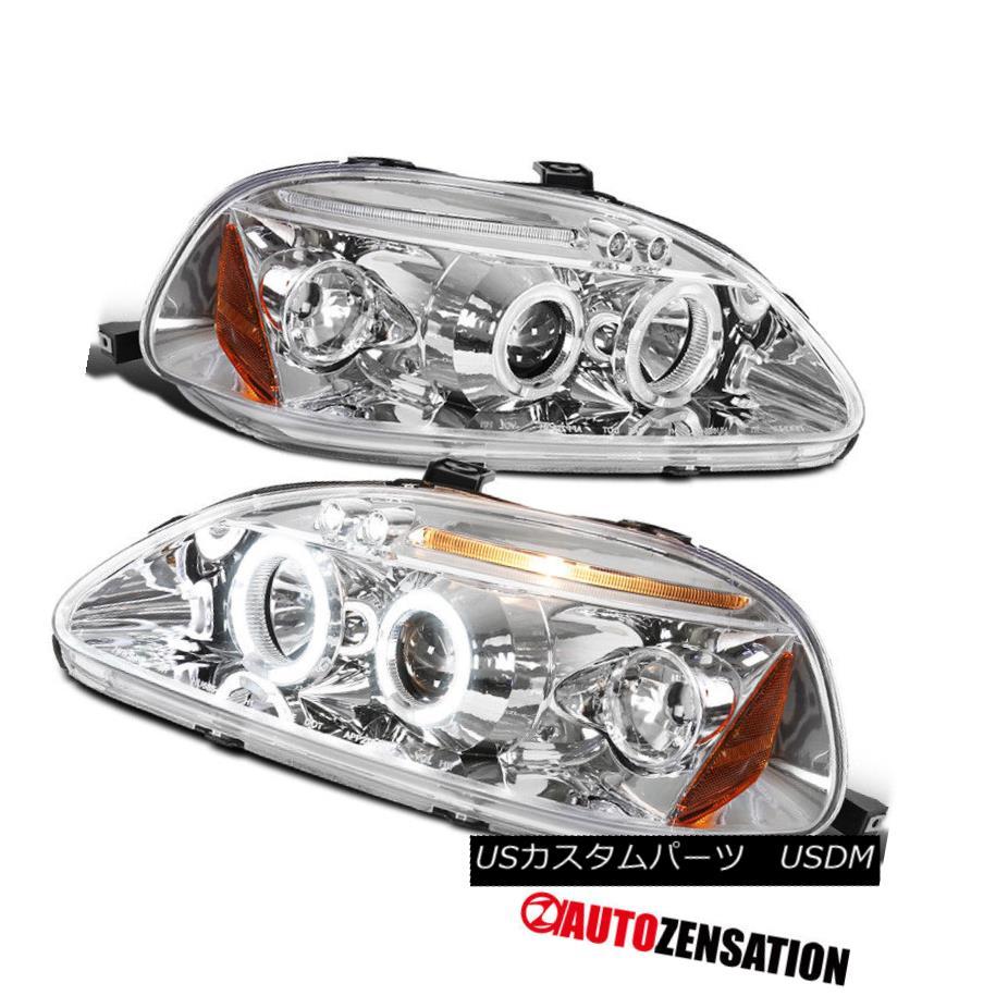 ヘッドライト Fit 96-98 Honda Civic Chrome LED DRL Halo Projector Headlights フィット96-98ホンダシビッククロームLED DRLハロープロジェクターヘッドライト
