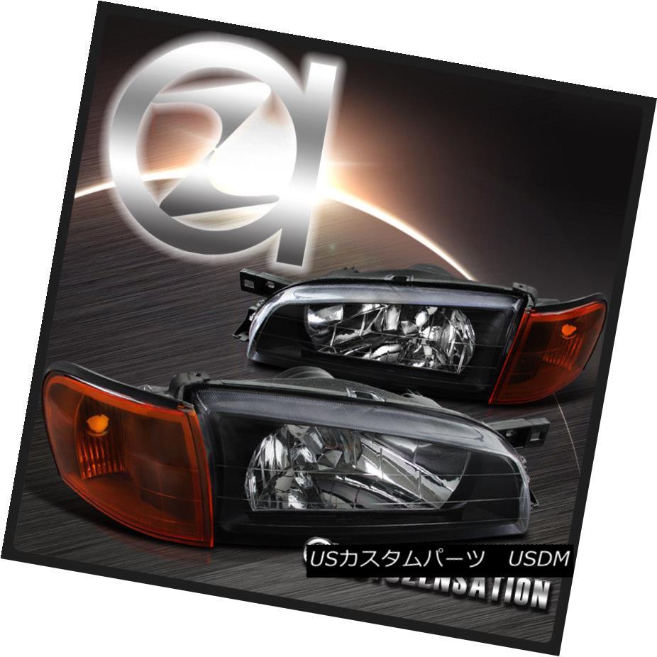 ヘッドライト For 1995-2001 Subaru Impreza Black Headlight+Amber Corner Signal Lights 1995?2001年スバルインプレッサブラックヘッドライト+アンバー rコーナー信号ライト
