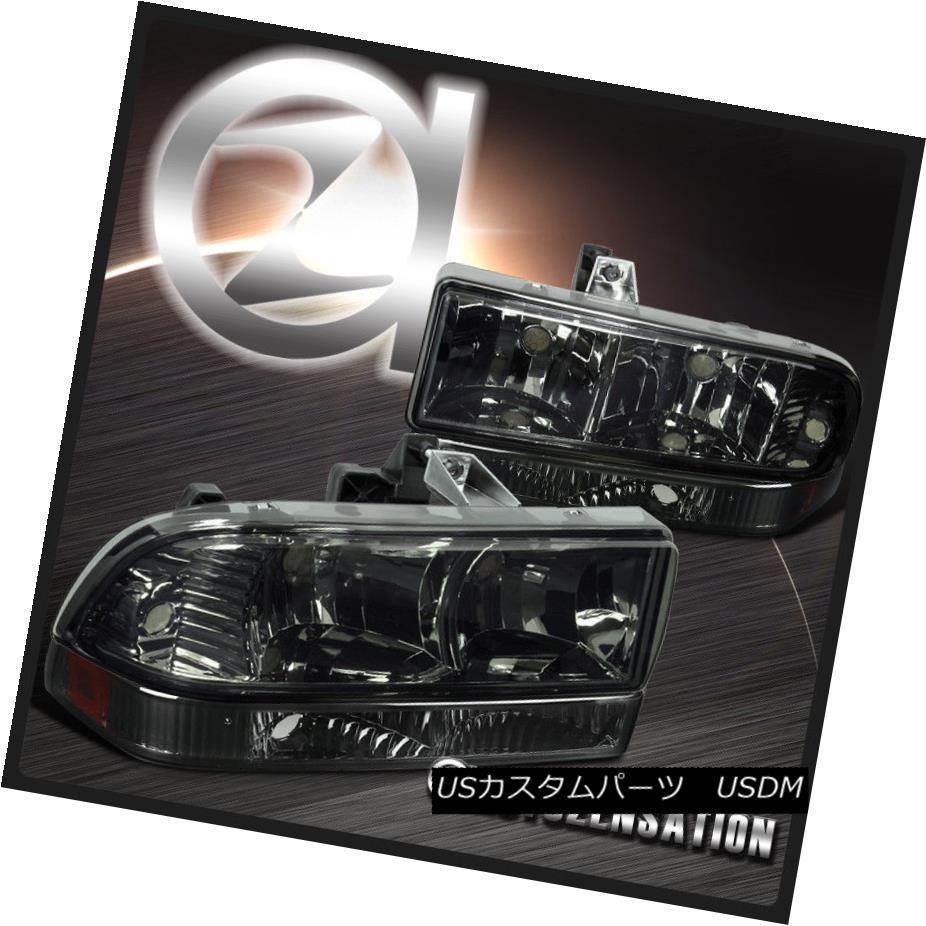 ヘッドライト 98-04 Chevy S10 Pickup Blazer Smoke Headlights+Bumper Lamps w/ Amber Reflector 98-04 Chevy S10ピックアップブレザースモークヘッドライト+ランプランプ付き/アンバーリフレクター