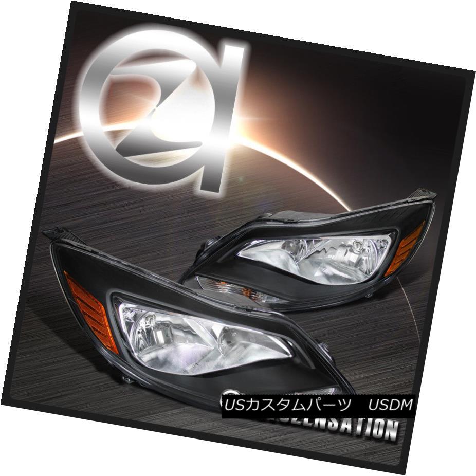 ヘッドライト 2012-2014 Ford Focus SE Titanium Euro Black Headlights Lamps w/ Amber Reflector 2012年?2014年フォードフォーカスSEチタンユーロブラックヘッドライトランプ/アンバーリフレクター