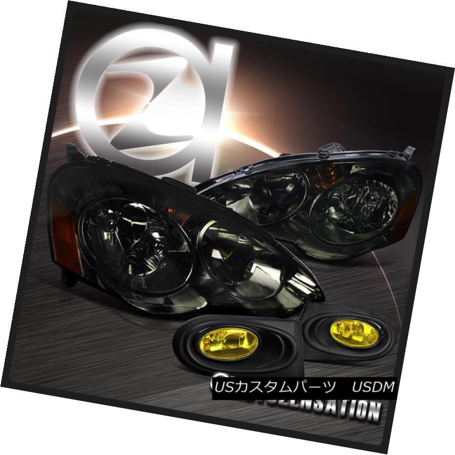 ヘッドライト 2002-2004 Acura RSX DC5 Smoke Crystal Headlights+Yellow Fog Bumper Lamp 2002-2004 Acura RSX DC5スモーククリスタルヘッドライト+イエロー 低フォグバンパーランプ