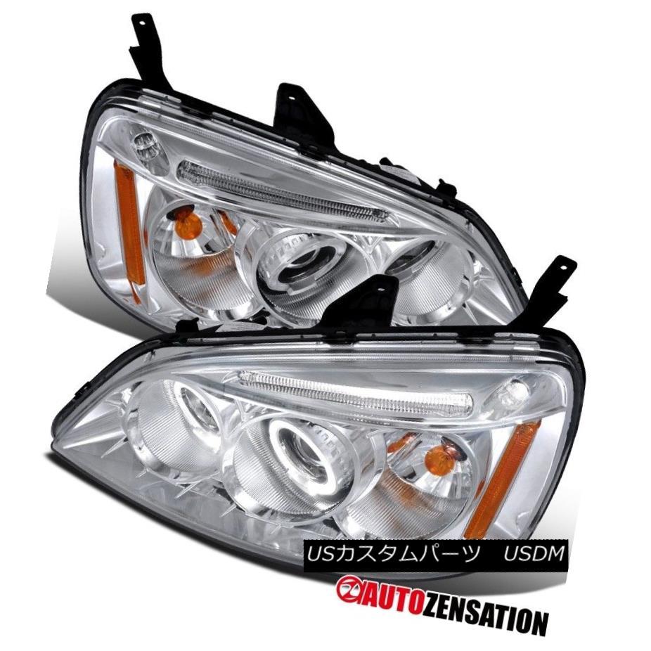 ヘッドライト For 01-03 Honda Civic 2Dr 4Dr Chrome LED DRL Halo Projector Headlights 01-03ホンダシビック2Dr 4DrクロームLED DRLハロープロジェクターヘッドライト用