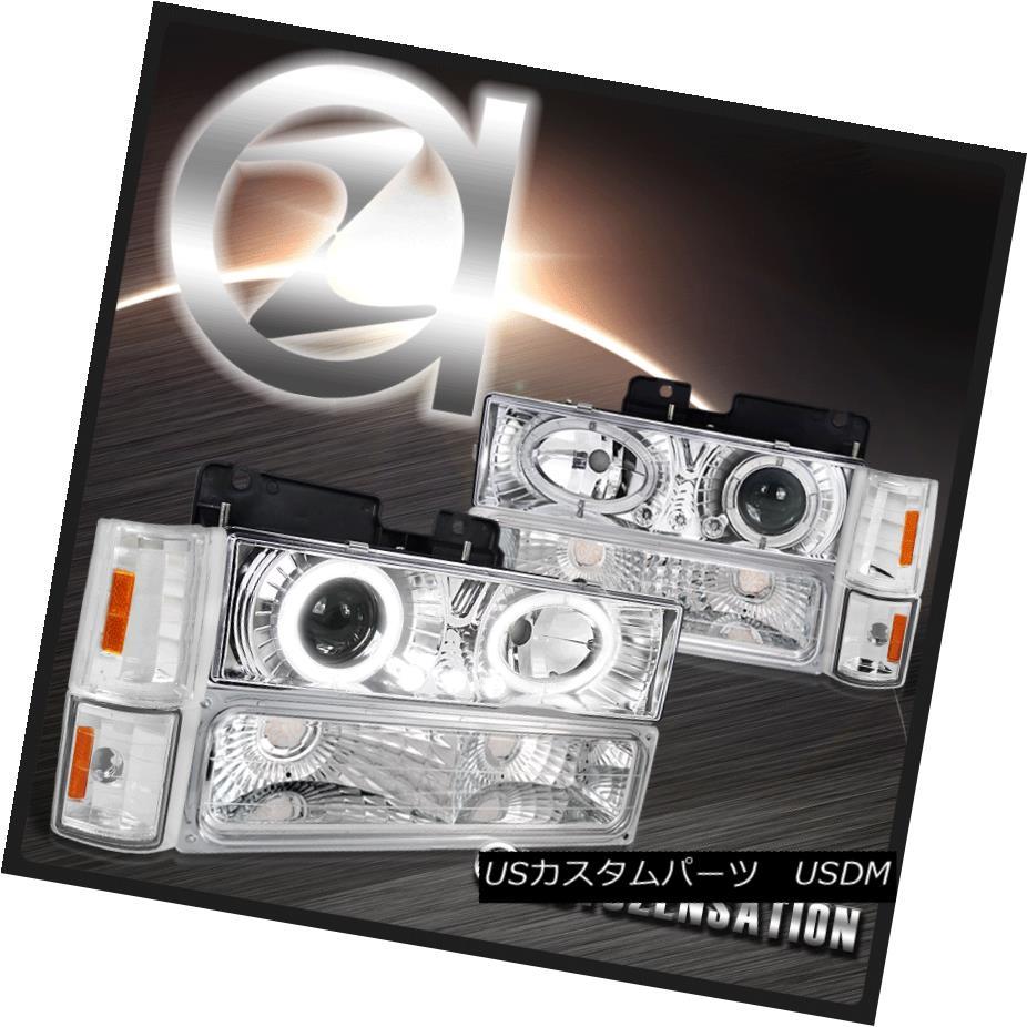 ヘッドライト 94-98 GMC C/K C10 Sierra Chrome Halo Projector Headlights+Corner Bumper Lamps 94-98 GMC C / K C10シエラクロームハロープロジェクターヘッドライト+コーナーその他のバンパーランプ