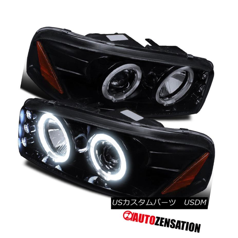 ヘッドライト 00-06 GMC Sierra Yukon Denali Glossy Black Halo LED DRL Projector Headlights 00-06 GMC Sierra Yukonデナリ光沢ブラックハローLED DRLプロジェクターヘッドライト