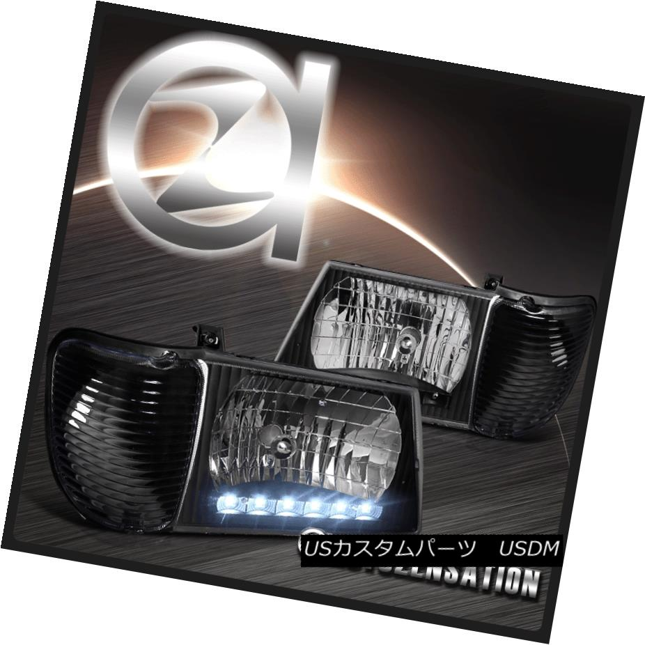 ヘッドライト 92-06 Ford E350 E450 Econoline Black LED Headlights & Corner Turn Signal Lights 92-06 Ford E350 E450 EconolineブラックLEDヘッドライト& コーナーターンシグナルライト