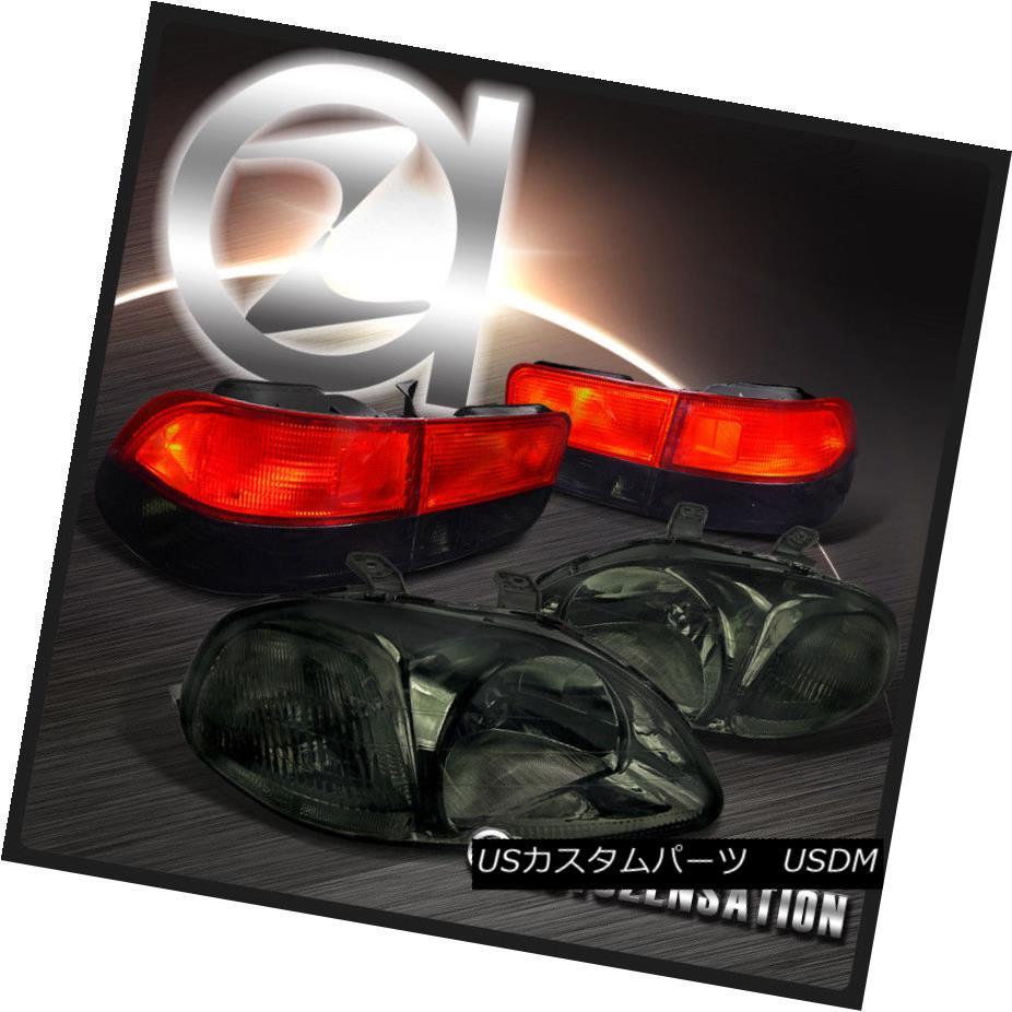 ヘッドライト Fit Honda 96-98 Civic 2dr JDM Crystal Smoke Headlights+Red Smoke Tail Lamps フィットホンダ96-98シビック2dr JDMクリスタルスモークヘッドライト+レッド煙テールランプ