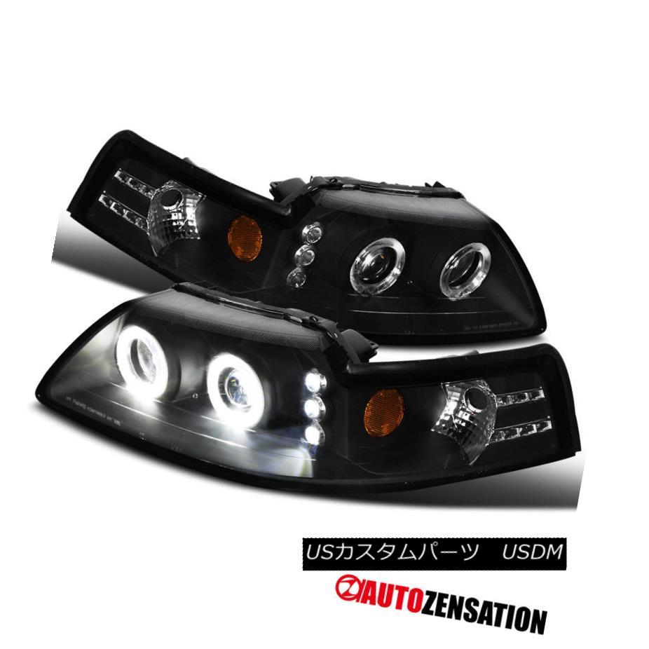 ヘッドライト 99-04 Ford Mustang Black Dual Halo Clear Projector Head Lights Amber Reflector 99-04フォードマスタングブラックデュアルヘイロークリアプロジェクターヘッドライトアンバーリフレクター