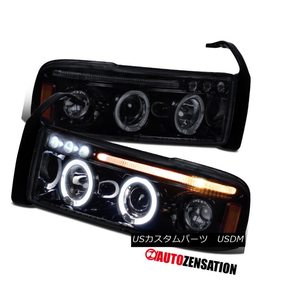 ヘッドライト 1994-2001 Dodge Ram Glossy Black LED DRL Halo Projector Headlights Driving Lamps 1994-2001 Dodge Ram Glossy黒色LED DRLハロープロジェクターヘッドライトドライビングランプ