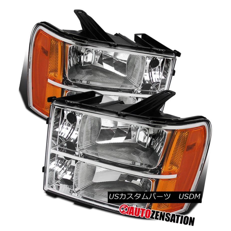 ヘッドライト 07-13 Sierra 1500 2500 3500HD Denali Hybrid Crystal Chrome Clear Headlights 07-13 Sierra 1500 2500 3500HDデナリハイブリッドクリスタルクロムクリアヘッドライト