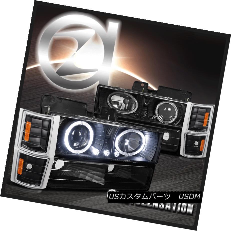 ヘッドライト 94-98 Chevy C10 C/K Tahoe Black Halo Projector Headlights w/ Bumper Corner Lamps 94-98シボレーC10 C / Kタホブラックハロープロジェクターヘッドランプ(バンパーコーナーランプ付)