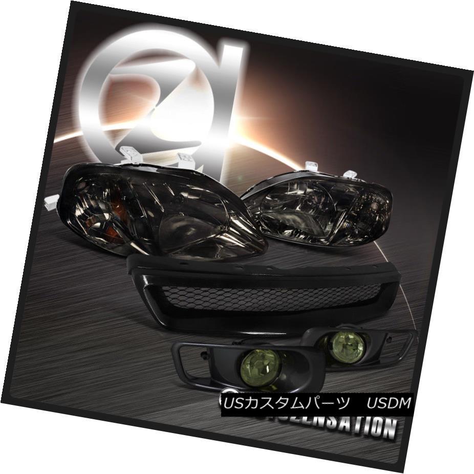 ヘッドライト For Honda 99-00 Civic Smoke Crystal Headlights+Driving Fog Lamps+Hood Grille ホンダ99-00シビックスモーククリスタルヘッドライト+ドライ vingフォグランプ+フードグリル