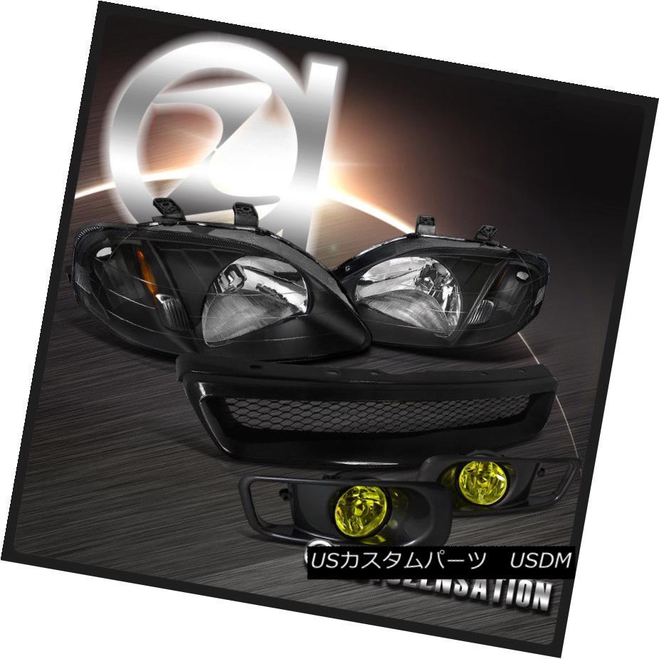 ヘッドライト Fit 1999-2000 Honda Civic Black Headlights+Yellow Fog Bumper Lamp+Mesh Grille フィット1999-2000ホンダシビックブラックヘッドライト+イエロー 低霧バンパーランプ+メッシュグリル