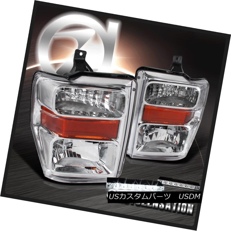 ヘッドライト 2008-2010 Super Duty F250 F350 F450 Chrome Headlights +6-LED Bumper Fog DRL 2008-2010スーパーデューティF250 F350 F450クロームヘッドライト+ 6 LEDバンパーフォグDRL