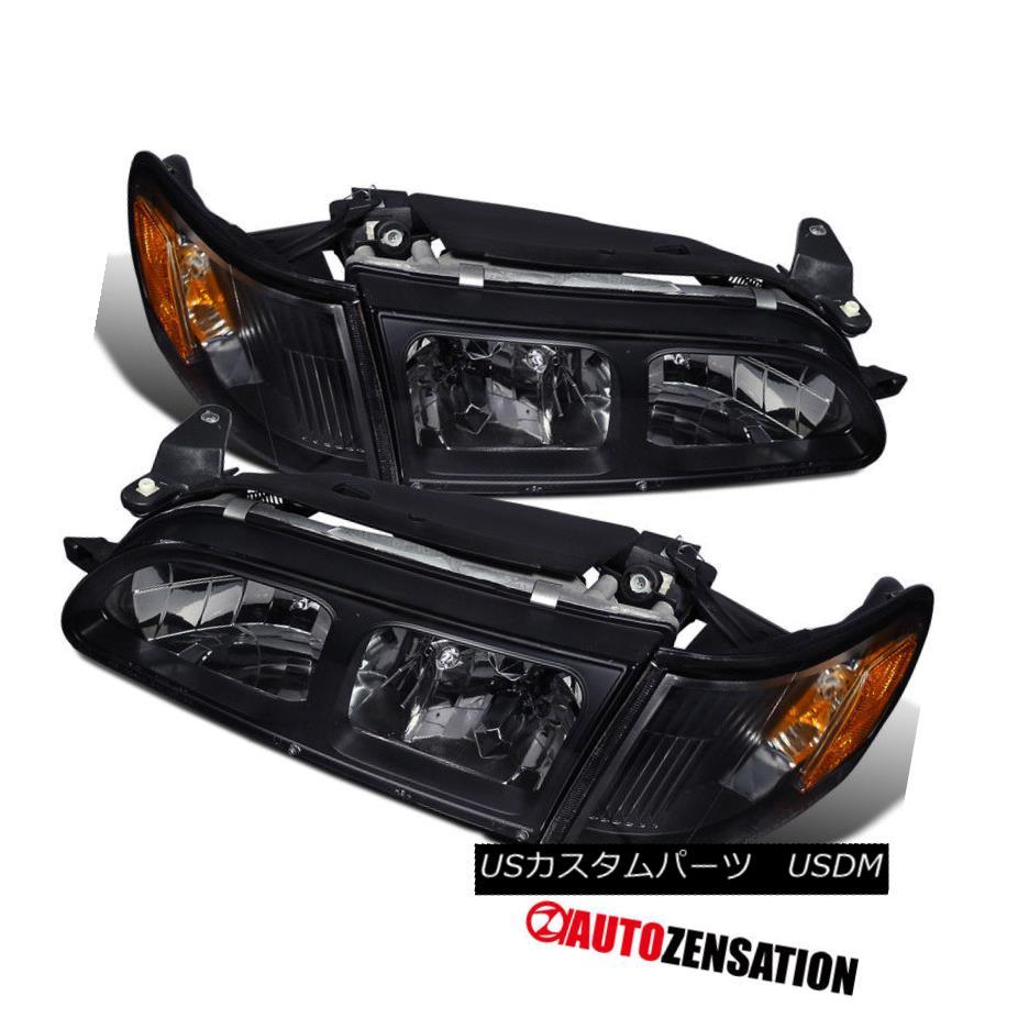 ヘッドライト For Toyota 93-97 Corolla JDM Crystal Black Headlights+Corner Signal Lamps 4PC トヨタ93-97 Corolla JDMクリスタルブラックヘッドライト+ Cor  ner Signal Lamps 4PC