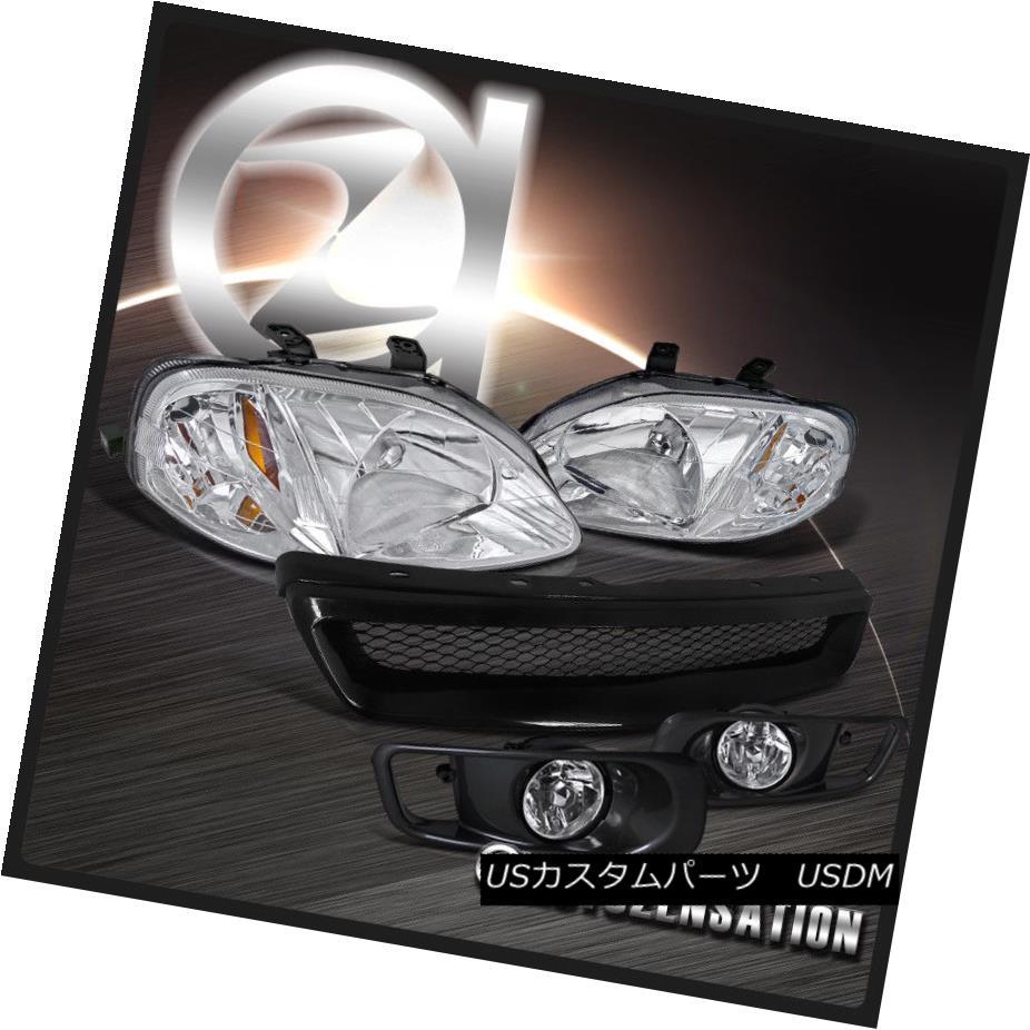 ヘッドライト Fit 1999-2000 Honda Civic Chrome Headlights+Clear Fog Bumper Lamp+Mesh Grille フィット1999-2000ホンダシビッククロームヘッドライト+ Cle  arフォグバンパーランプ+メッシュグリル